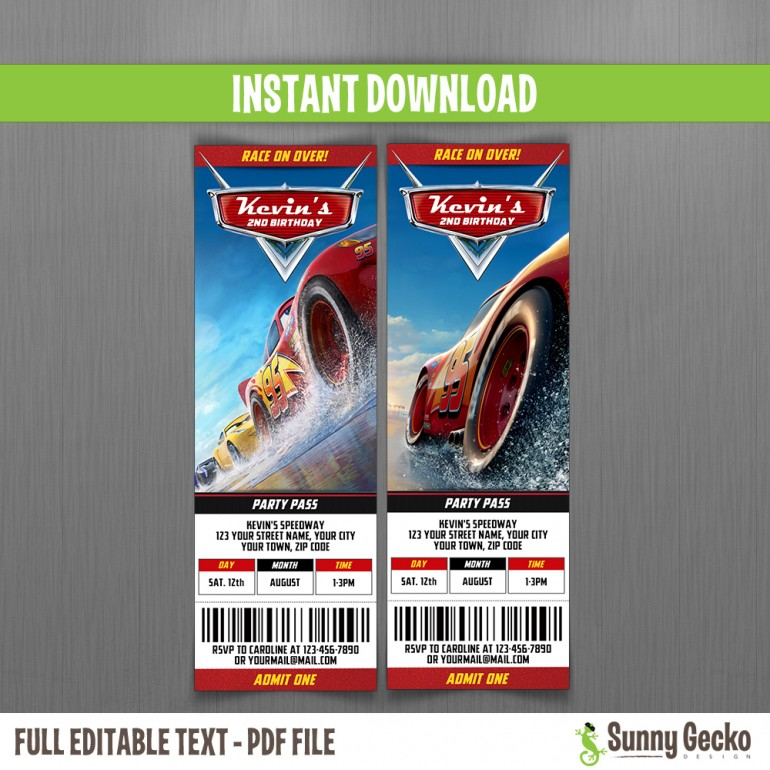 Cars 3 Birthday Ticket Invitations - Lightning McQueen