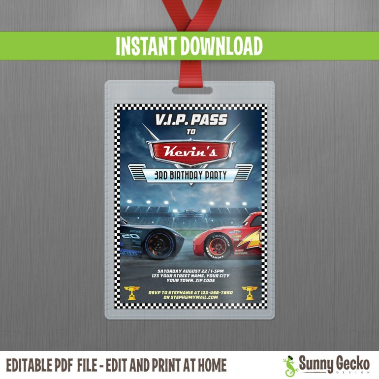 Cars 3 Lightning McQueen and Jackson Storm VIP Pass Birthday Invitation - 3x4 inches