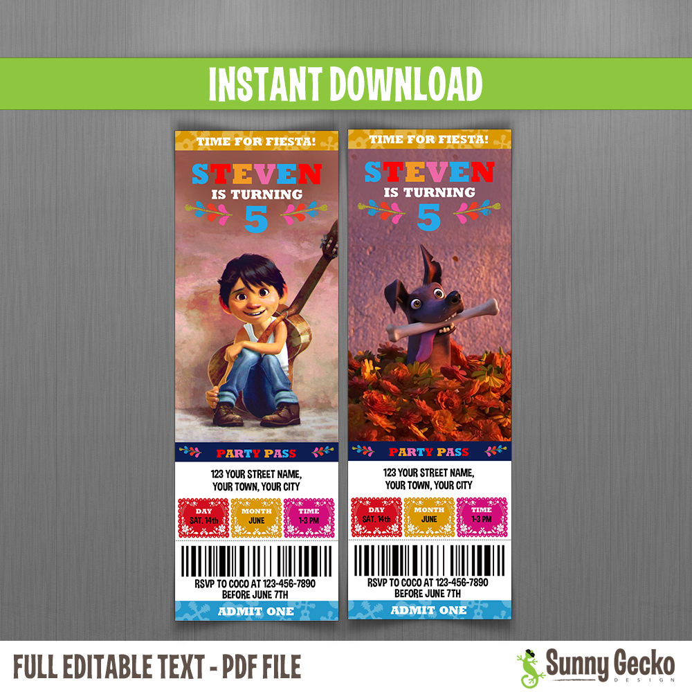 Coco Birthday Ticket Invitations Instant Download And Edit With Adobe Reader