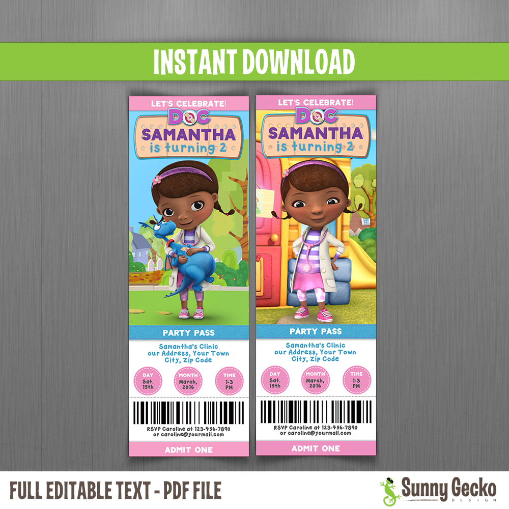 3 Designs Available Doc McStuffins Birthday Party Ticket Invitation Printable