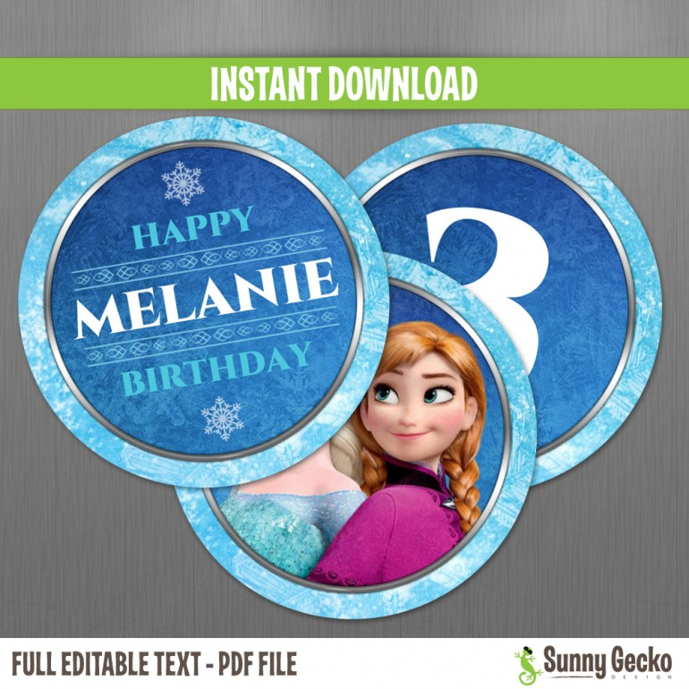 Frozen Birthday Circle Labels
