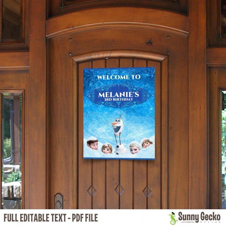Frozen Birthday Welcome Sign