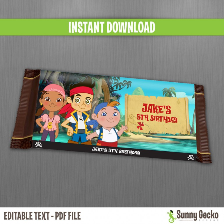 Jake and the Neverland Pirates Birthday Chocolate Wrappers