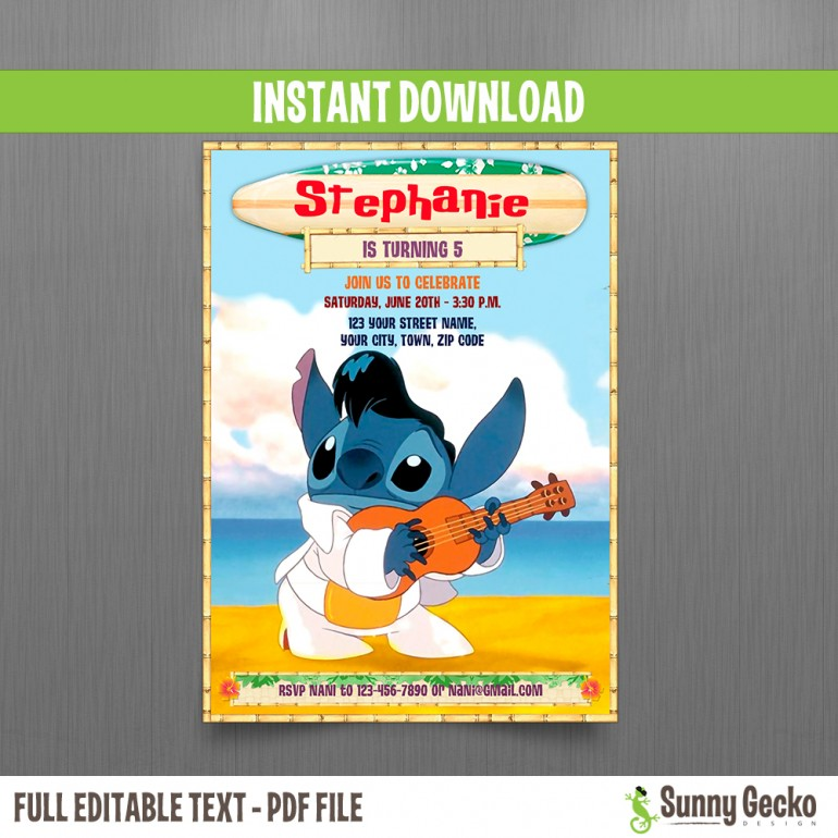 Lilo and Stitch II 5x7 in. Birthday Invitation