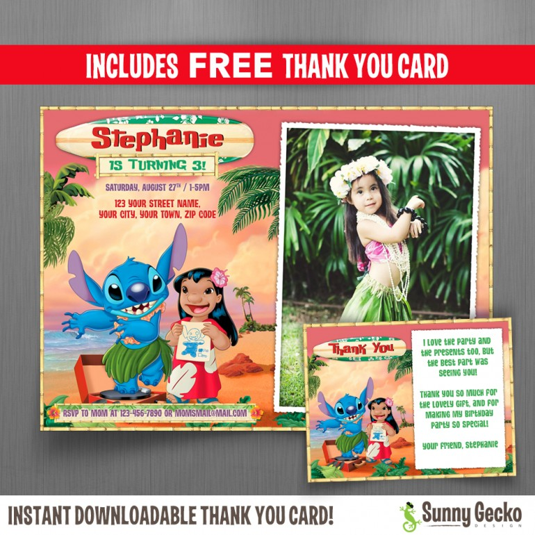 Lilo and Stitch 7x5 in. Birthday Party Invitation with FREE editable Thank you Card