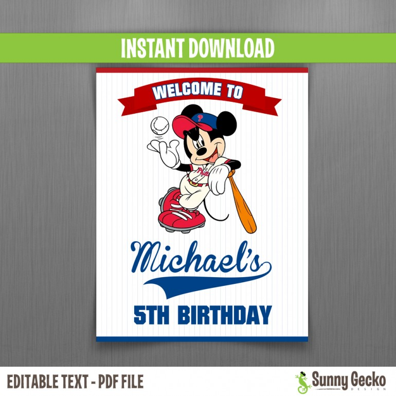 Mickey Mouse Baseball Birthday Welcome Sign