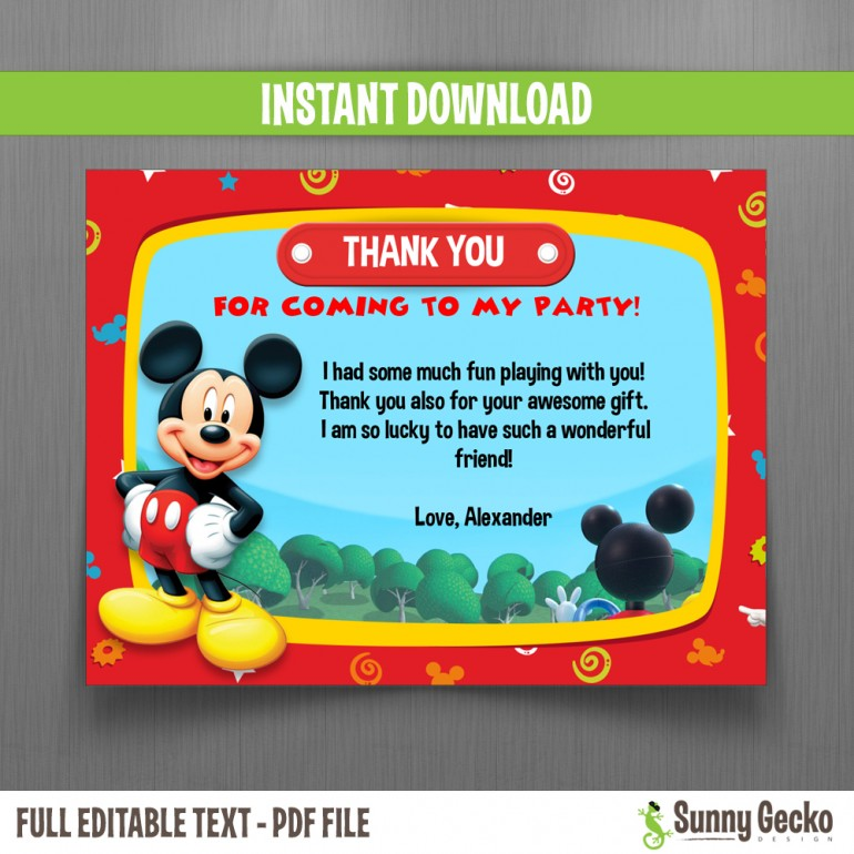 Disney Mickey Mouse Clubhouse Birthday Thank You Cards