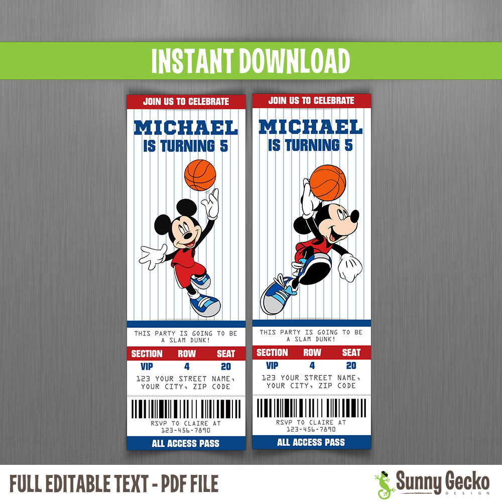 Disney Mickey Mouse Basketball Birthday Ticket Invitations Instant Download And Edit With Adobe Reader
