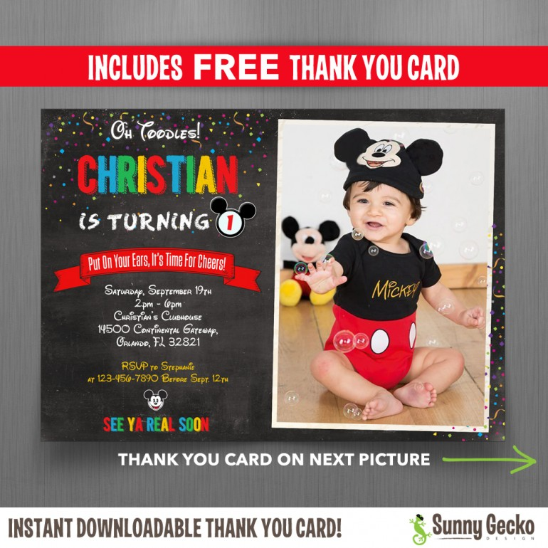 Mickey Mouse Chalkboard Style 7x5 in. Birthday Party Invitation with FREE editable Thank you Card
