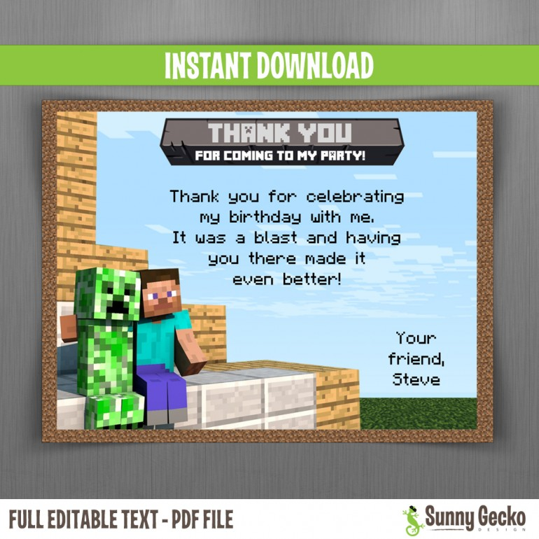 Minecraft Birthday Thank You Cards