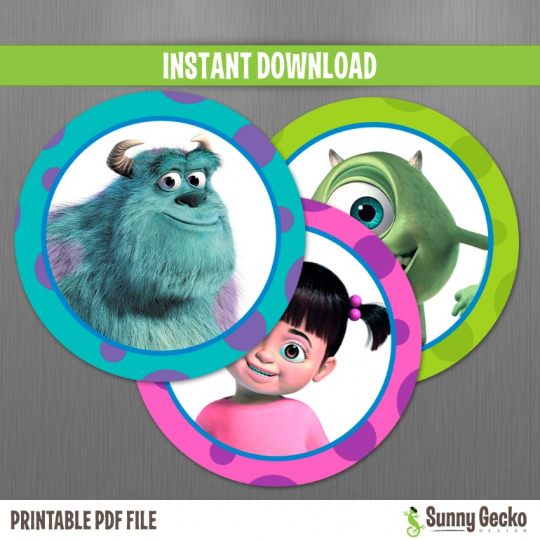 Monsters Inc. (Boo) Birthday Circle Labels