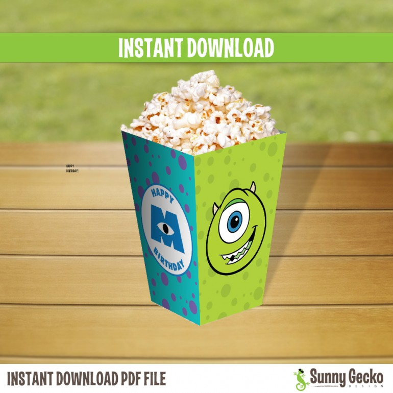 Monsters Inc. Birthday Mini Popcorn Box