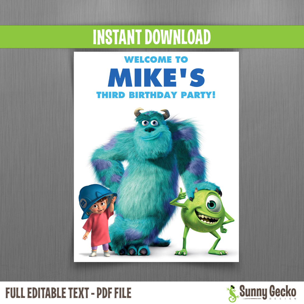 Monsters Inc Birthday Welcome Sign Instant Download And Edit With Adobe Reader