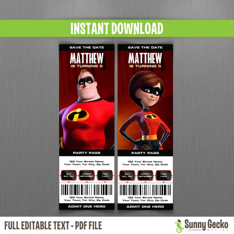 The Incredibles Birthday Ticket Invitations