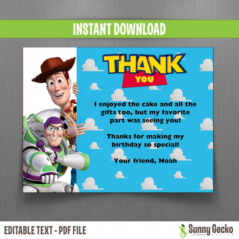 Toy Story Birthday Thank You Cards