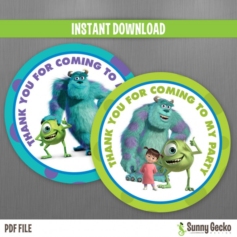 Monsters Inc. Birthday Favor Tags