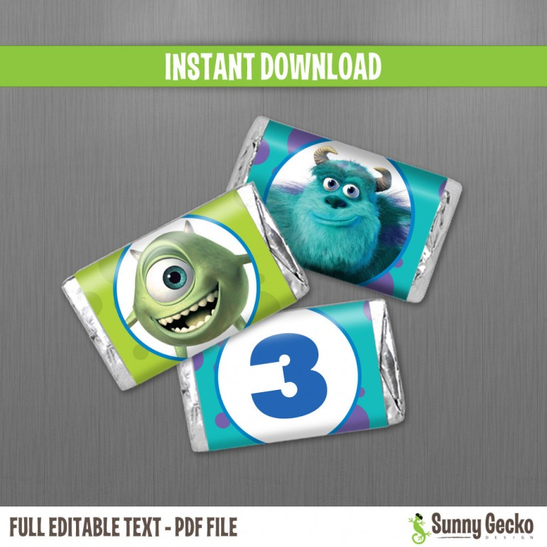 Monsters Inc. Birthday Mini Chocolate Wrappers
