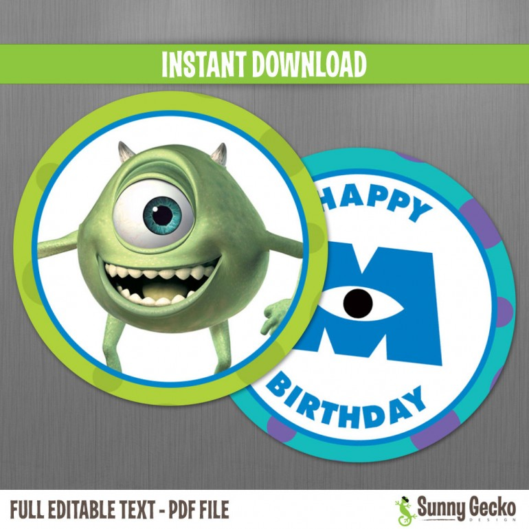 Monsters Inc. Birthday Circle Labels